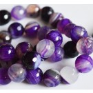 Agate beads 8mm natural, faceted, round, dyed,  12 pcs