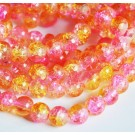 Crackle glass beads 8mm pink-yellow, 10 pcs