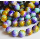 Glass beads 10mm, round, colorful, 10 pcs