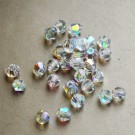 Glass beads 4mm bicone, faceted, clear, AB color plated, 10 pcs