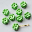 Tšehhi lapik klaaspärl Lill 8mm roheline, 1 tk